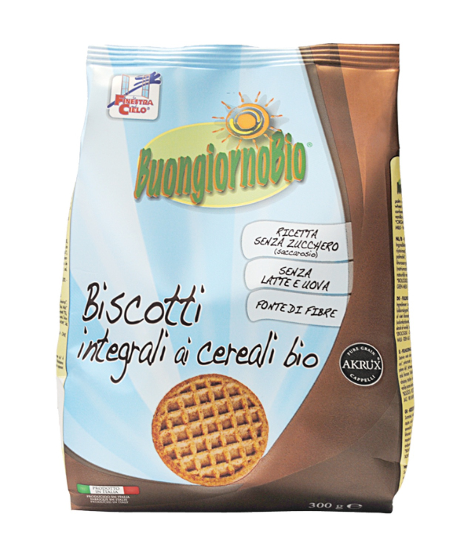 Biscuiti Buongiornobio cu cereale integrale (produs vegan, fara lapte, fara oua) 300g
