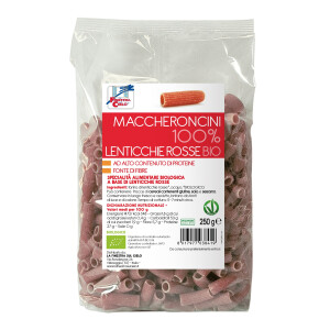 Paste bio Maccheroncini din linte rosie 100%