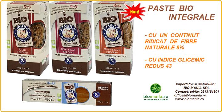 In premiera in Romania, paste integrale Bio cu indice glicemic scazut