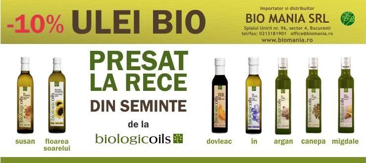 10% DISCOUNT pentru toata gama de ulei bio presat la rece BIOLOGICOILS