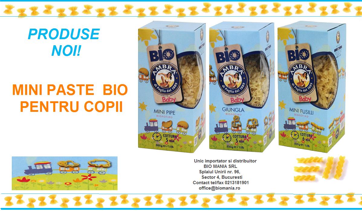 Produse noi: Mini Paste bio pentru copii