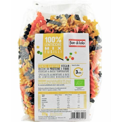 Paste bio Fusilli mix de linte, fara gluten, Fior di Loto 225g