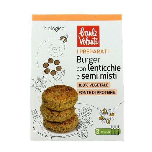Preparat pentru Burger bio cu linte si mix de seminte, Baule Volante 180g