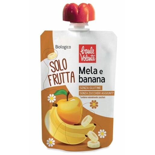 Piure bio de mere si banane, fara gluten, fara zahar adaugat, Baule Volante 100g
