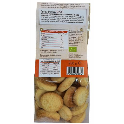 Biscuiti Bio fior di biscotti, cu orez, fără lactoza, fără ouă, fără drojdie, fara ulei de palmier, vegan, Fior di Lotto 250g