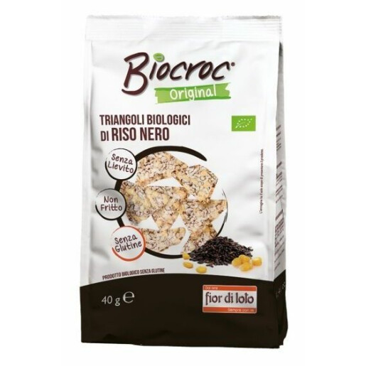 Snack triunghiular bio de orez negru, fara gluten, fara drojdie, neprajit, Fior di Loto 40g