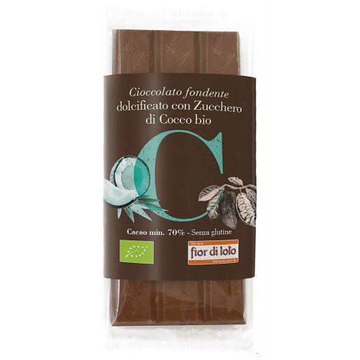 Ciocolata neagra bio indulcita cu zahar de cocos, fara gluten, 70% cacao, Fior di Loto 70g
