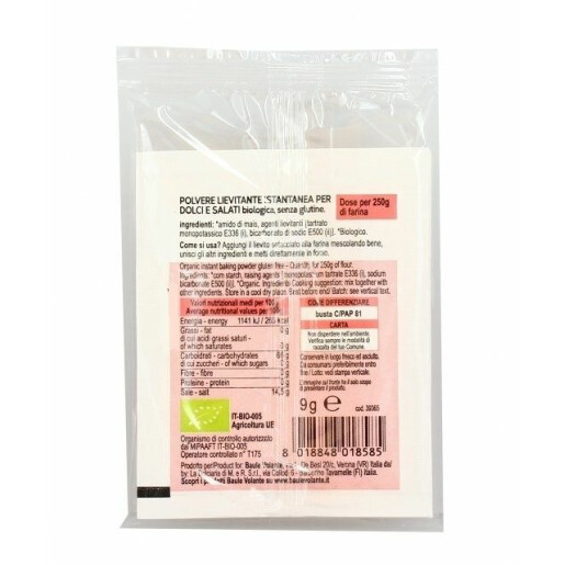 Praf de copt bio pentru preparate dulci si sarate (2 plicuri x 9g), fara gluten, Baule Volante 18g