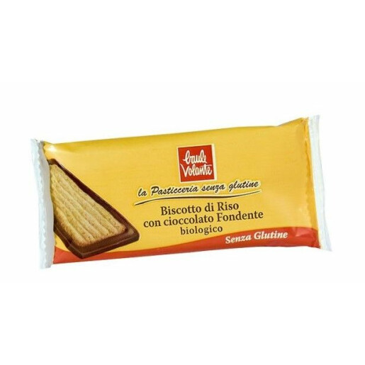 Biscuite de orez cu ciocolata amaruie, fara gluten, Baule Volante 23g