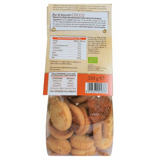 Biscuiti Bio Fior di biscotti, cu fulgi de cocos, fără lactoza, fără ouă, fără drojdie, fara ulei de palmier, vegan, Fior di Loto 250g