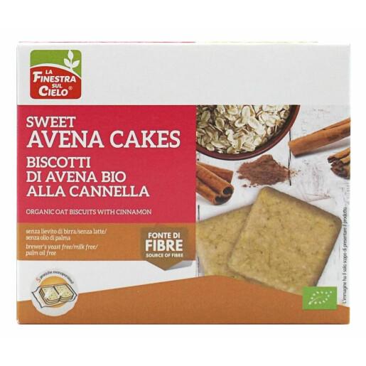 Biscuiți Bio din ovăz cu scorțișoară, fără lapte, fără drojdie de bere, fără ulei de palmier, La Finestra Sul Cielo, 250g