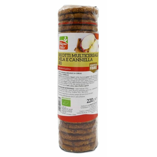 Biscuiti bio cu multicereale, mere si scortisoara (fara ilei de palmier) 220 g