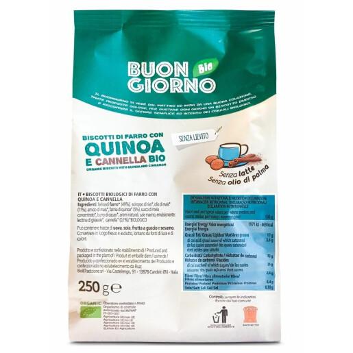 Biscuiti BuongiornoBio din spelta, cu quinoa si scortisoara (fara drojdie, fara lapte, fara ulei de palmier) 250g