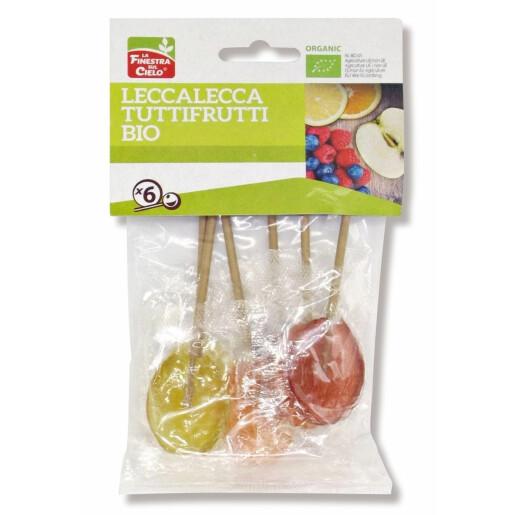 Acadele bio cu fructe Lollypops (indulcite cu sirop de orez), La Finestra Sul Cielo 50g
