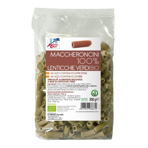 Paste bio Maccheroncini din linte verde 100%