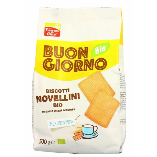 Biscuiti BuongiornoBio din grau Novellini, fara ulei de palmier, La Finestra Sul Cielo 500g