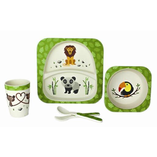 Set serviciu masa, 5 piese din fibre de bambus pentru copii Jungla