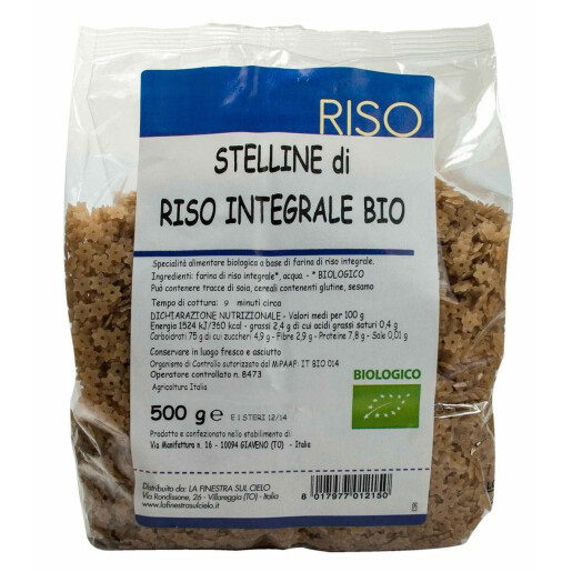 Paste Bio Stelute din orez integral, vegan, La Finestra Sul Cielo, 500g