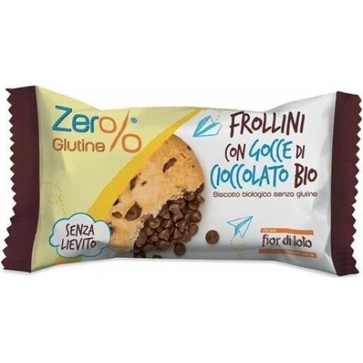 Biscuiti Frollini bio cu picaturi de ciocolata, fara gluten, fara drojdie, Fior di Loto 70g