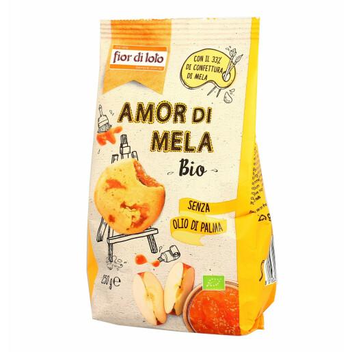 Biscuiti bio din grau cu umplutura de mere, fara ulei de palmier, Fior di Loto 250g