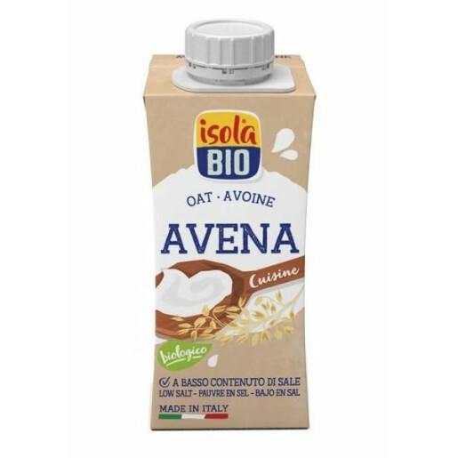 Crema Bio, din ovaz, pentru gatit, Isola Bio, 200ml, continut scazut de sare
