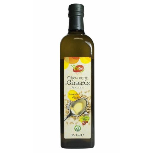 Ulei bio din seminte de floarea soarelui *dezodorizat, presat la rece 750ml, Vivibio