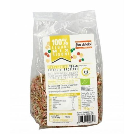 Paste bio Risoni mix legume (linte rosie, mazare, naut), fara gluten, Fior di Loto 250g