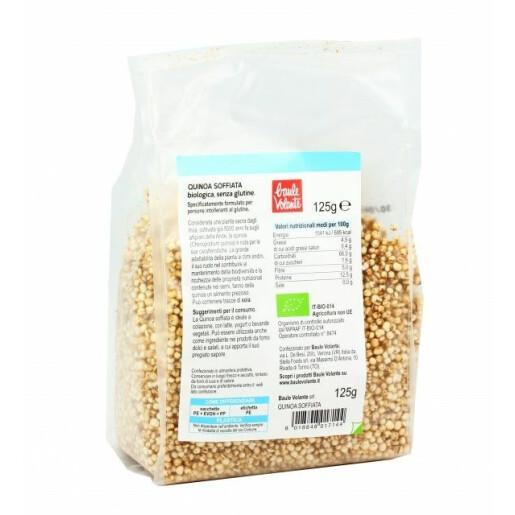 Quinoa bio expandata, fara gluten, Baule Volante 125g