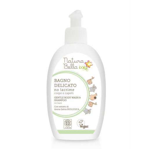 Sampon si gel de dus delicat pentru baie fără lacrimi, vegan, Natura Bella Baby 300ml