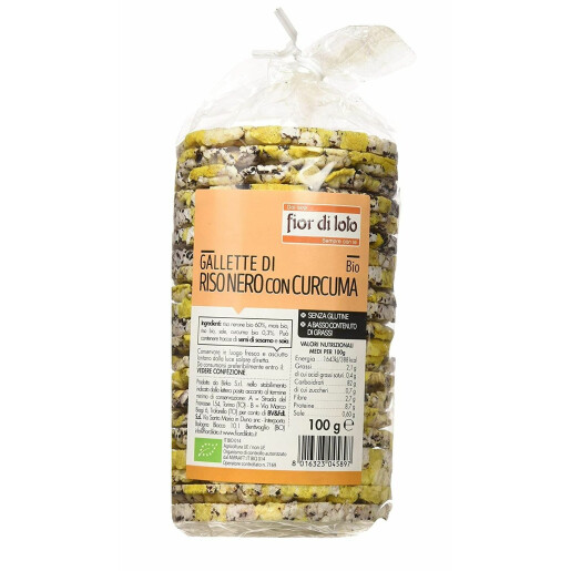 Rondele (Galete) bio de orez negru cu turmeric, fara gluten, Fior di Loto 100g