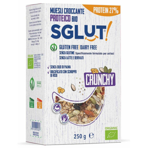 Musli bio crocant proteic fara gluten (vegan, fara lapte) SGLUT 250g