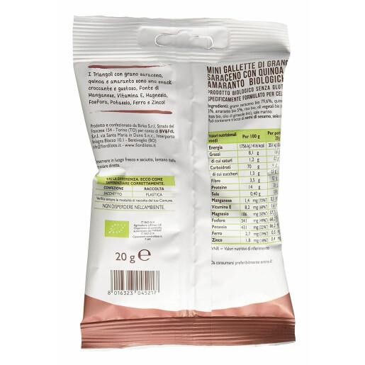 Snack bio triunghiular din porumb cu legume, fara gluten, neprajit, Fior di Loto 20g