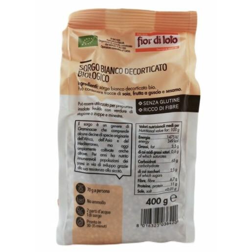 Sorg alb Bio decorticat, fara gluten, Fior di Loto 400g
