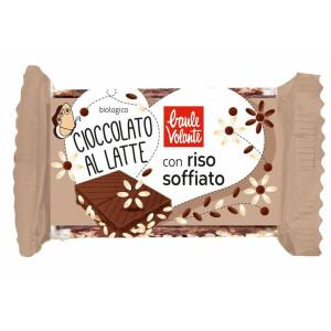 Produsul a fost salvat. Ciocolata bio cu lapte, cu orez expandat, Baule Volante 25g