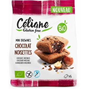 Mini brownies bio cu ciocolata si alune (fara gluten) 170g Celiane