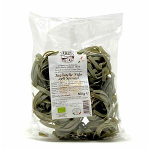 Paste bio Tagliatelle din grau dur cu spanac, Iris 500g.