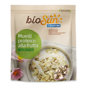 Musli Bio proteic cu fructe, fără gluten, fără zahăr, 200g bioSUN