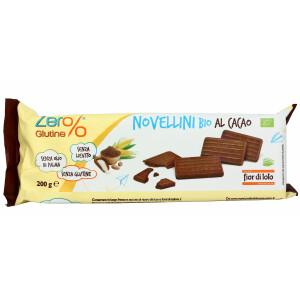 Biscuiti Novellini bio cu cacao, fara gluten, fara drojdie, fara ulei de palmier, Fior di Loto 200g
