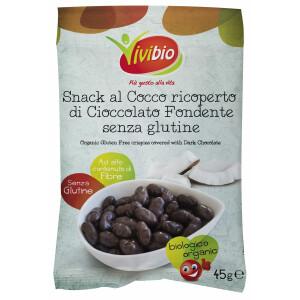 Snack cocos bio tras in ciocolata amaruie, fara gluten, vegan, Vivibio, 45g