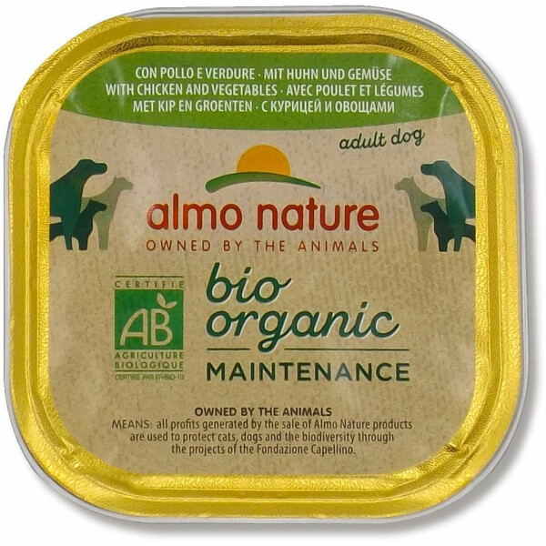 Almo Nature BioOrganic Maintenance Hrana umeda pentru caine adult, cu pui si legume 300g