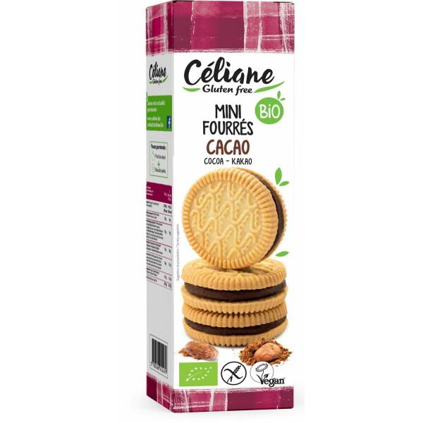 Biscuiti bio cu implutura de cacao (fara gluten, vegan) 125g Céliane