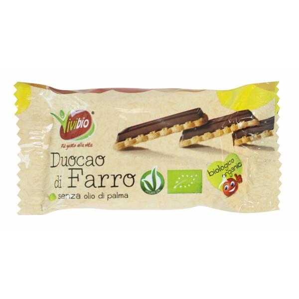 Biscuiti bio din spelta cu invelis de ciocolata 28g