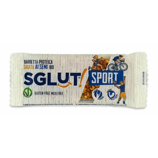 Baton bio proteic crunchy sarat cu seminte (fara gluten, fara lapte) SGLUT 20g.