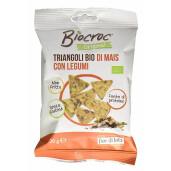 Snack bio Biocroc triunghiular din porumb cu legume, fara gluten, neprajit, Fior di Loto 20g